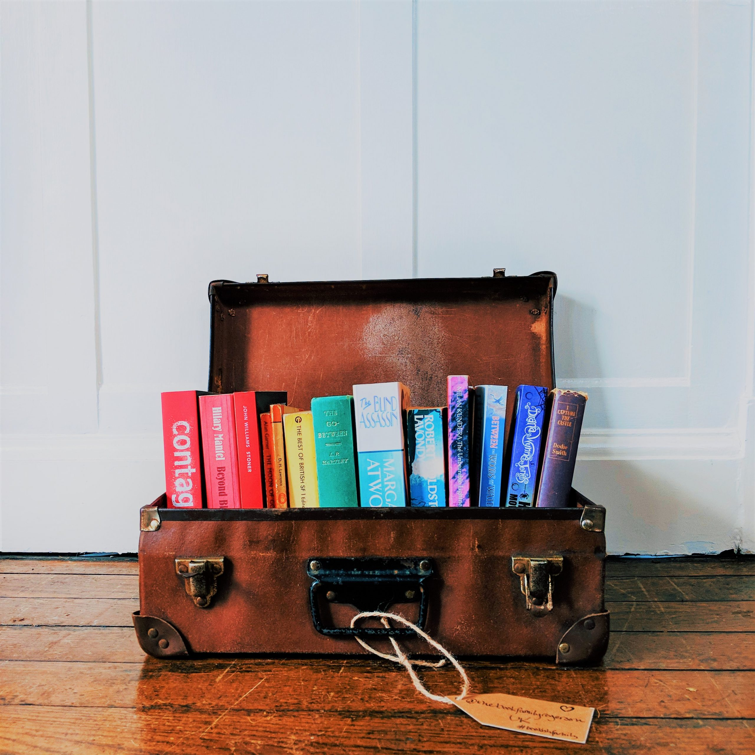 Ways to Become a Bookstagram Influencer - rainbow books in a suitcase