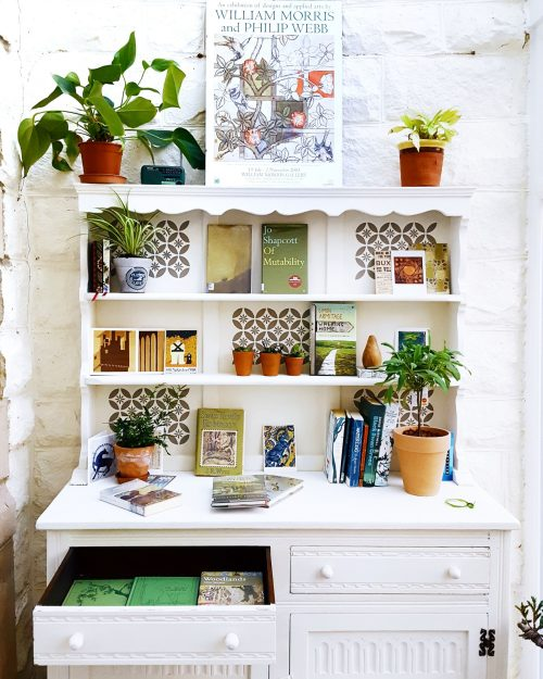 Green Book Covers on Vintage Dresser
