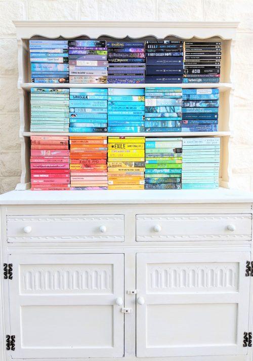 Rainbow Book Spines on Vintage Dresser
