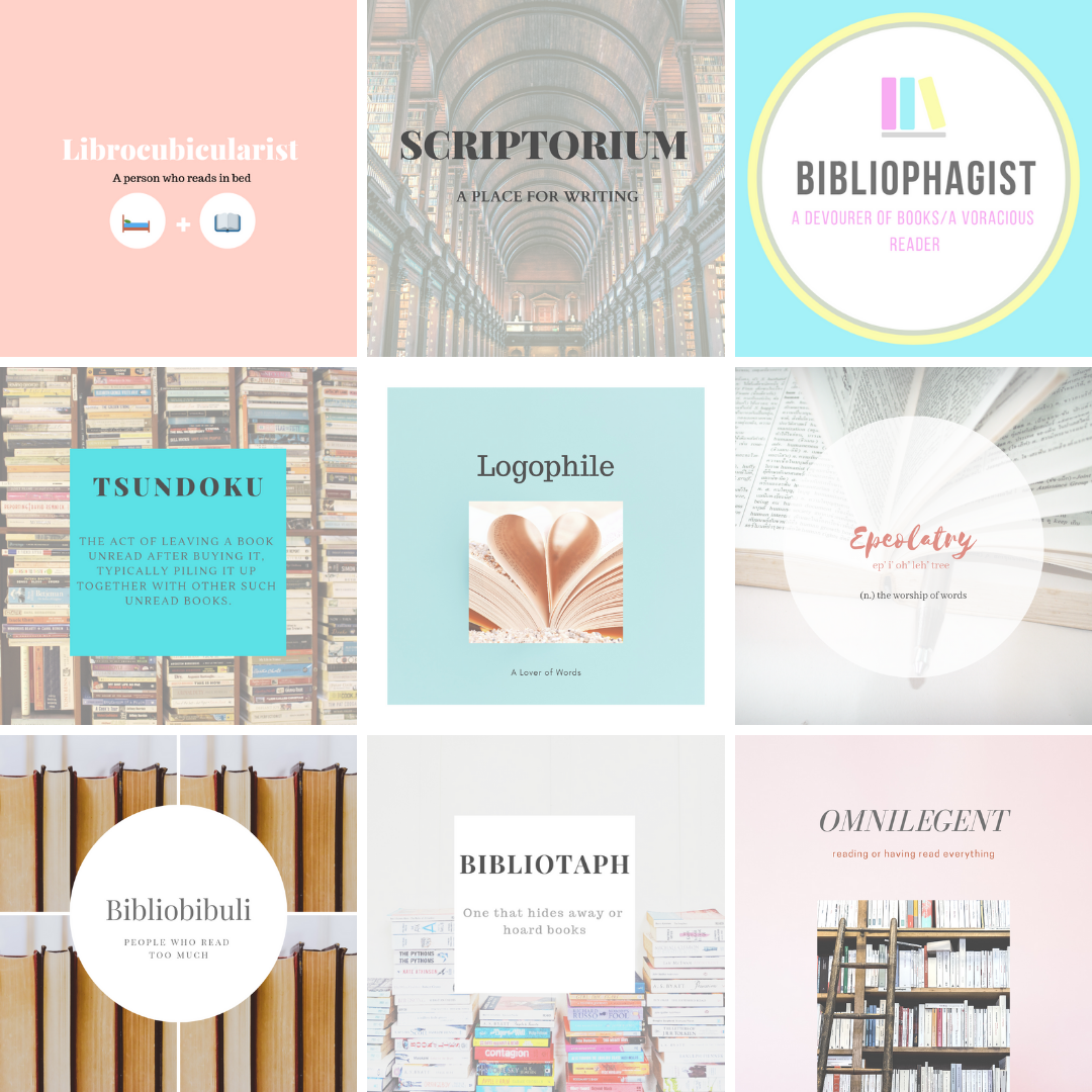 Nine beautiful bookish words for bibliophiles in a grid