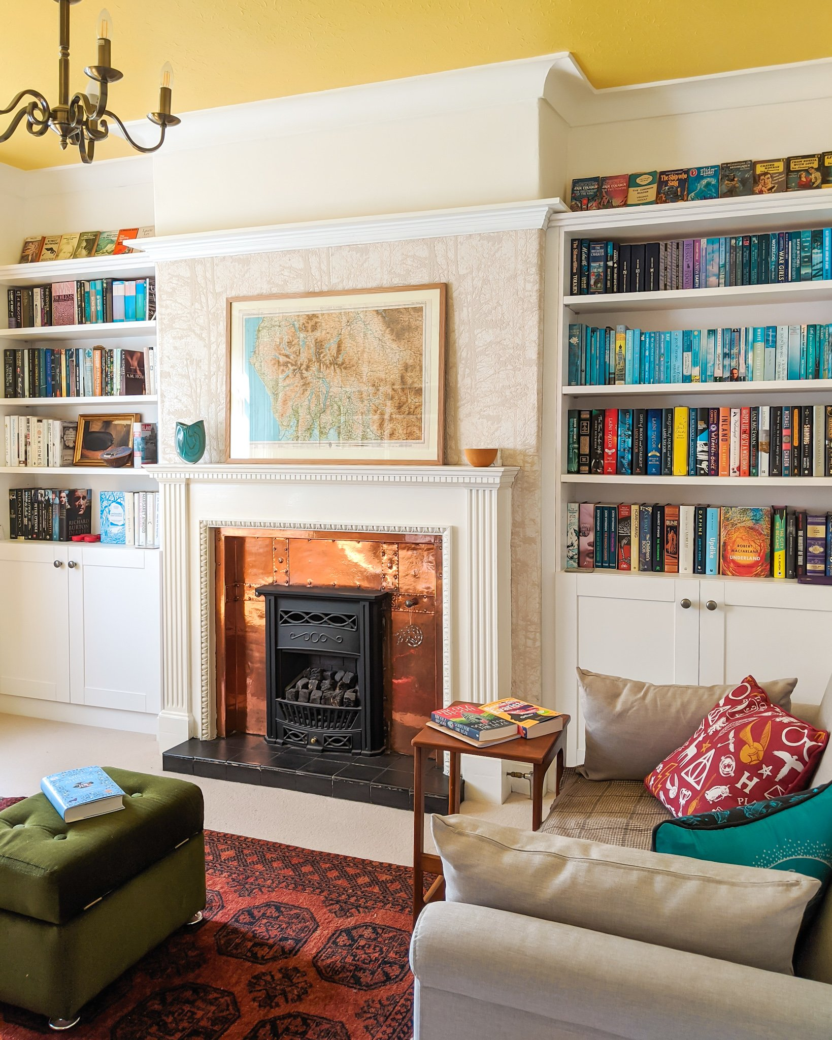 A home library with fitted bookshelves to illustrate The Book Family Rogerson July Round-Up