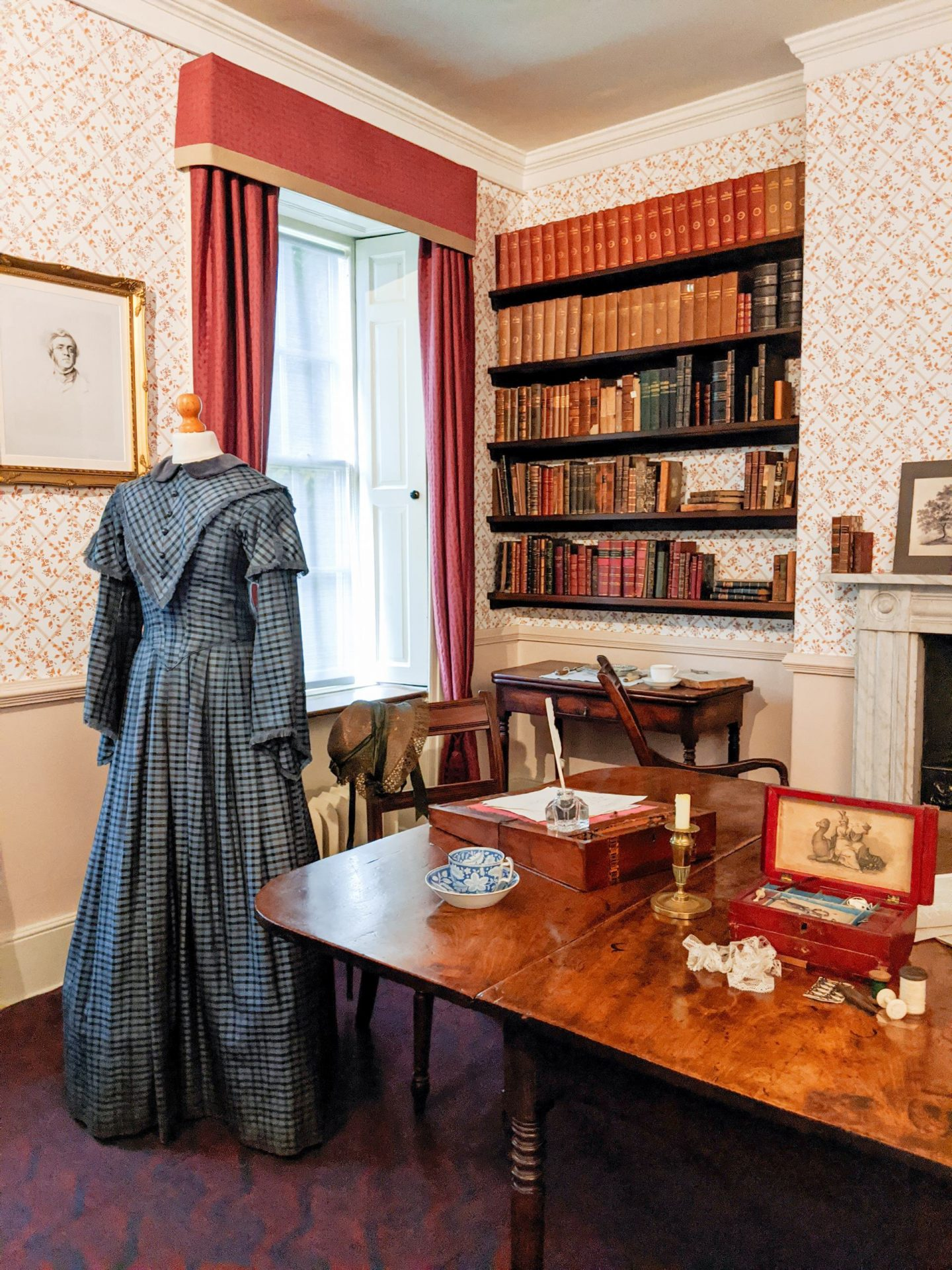 A Bookshelf in the Dining Room at Brontë Parsonage Museum