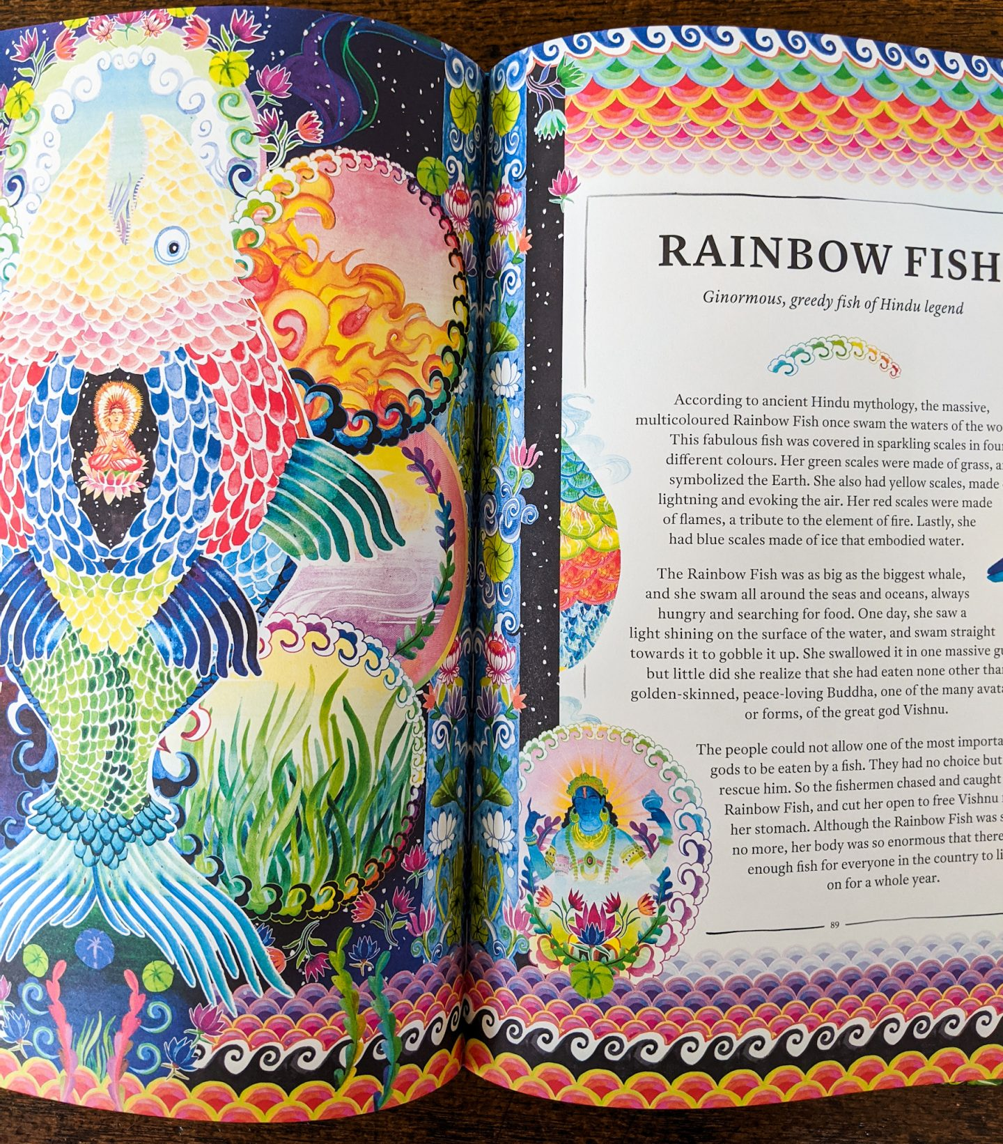 Mythopedia showing double page spread Rainbow Fish